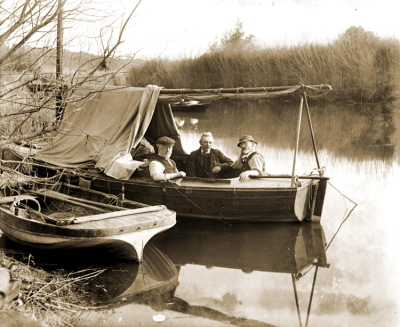 3 men in a boat Burpham 1910
