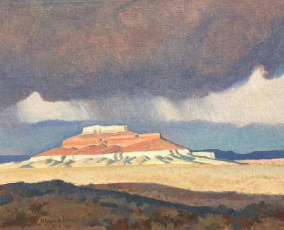 "alt=""Maynard Dixon Thunder over Ship Rock"""