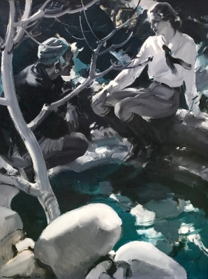 pruett carter overs at the well, oil painting