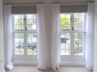 Roman blinds and sheer curtains for a client in hampton