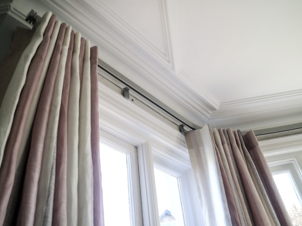 Semi-sheer Lined Linen Curtains for a Bay Window in Teddington