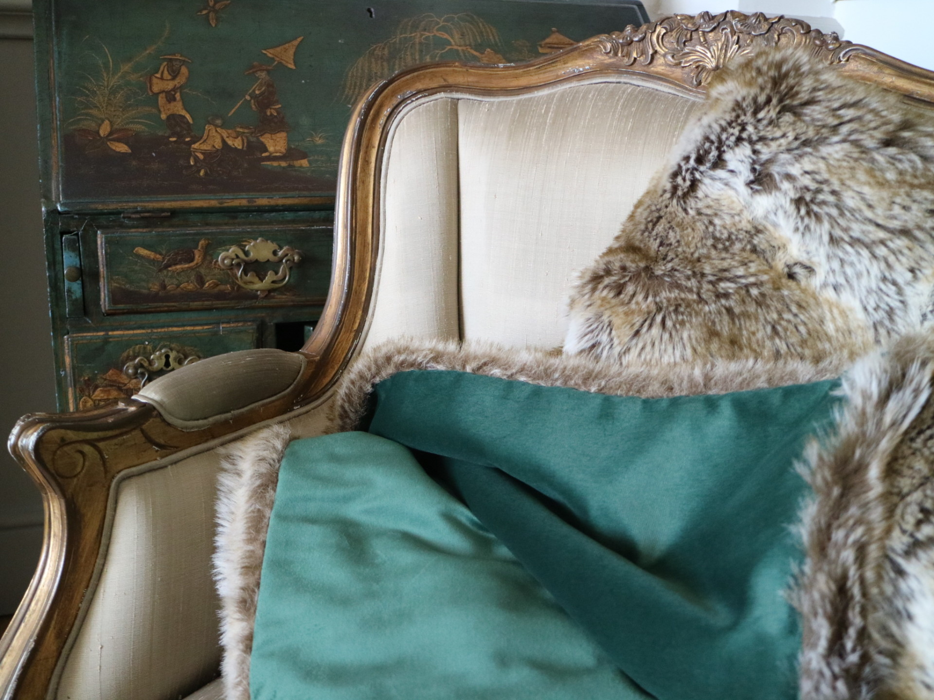 Opulent Hand-made Fur and Velvet Throw