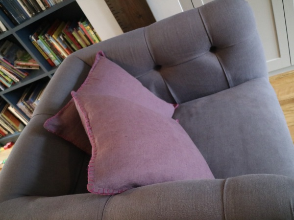 Blanket stitch cushions & snuggle chair, Twickenham