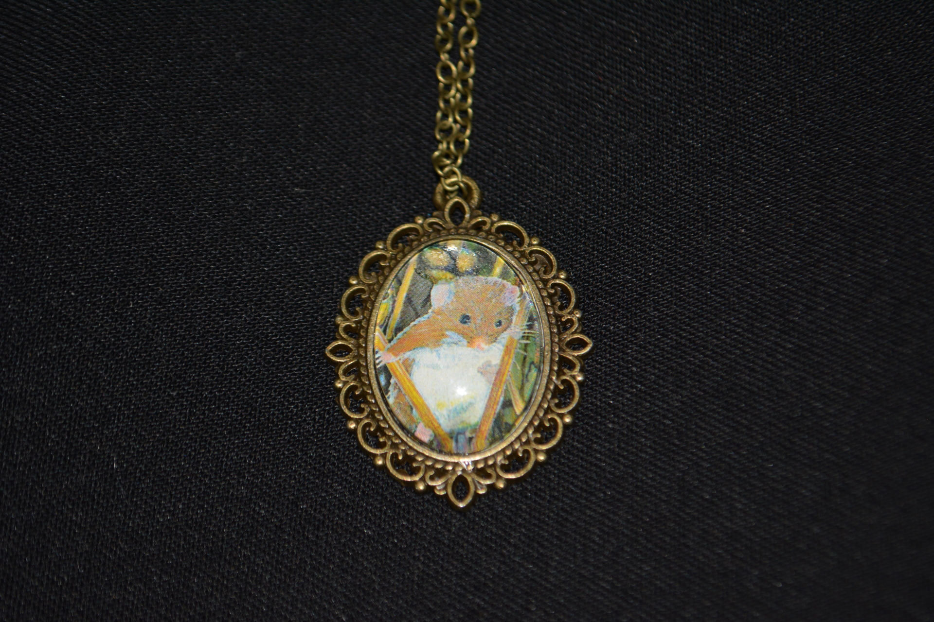 Harvest Mouse Bronze Necklace