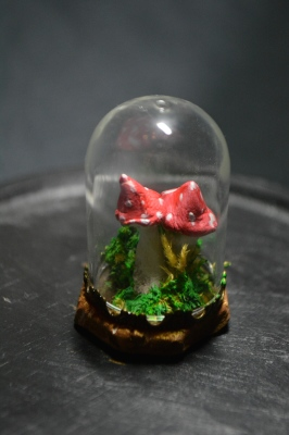 Minature Bell Jar - toadstool (Red and White x2)