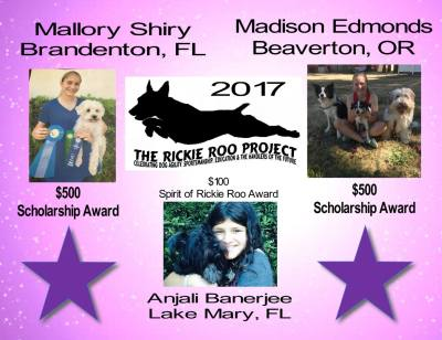 WINNERS of Rickie Roo Project Scholarships are....