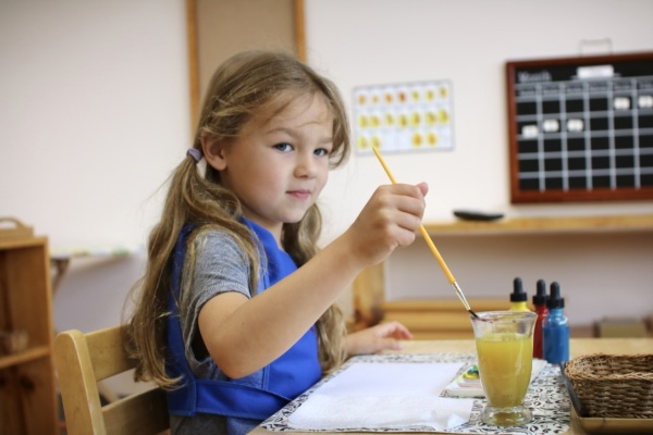 True montessori teaching method involving colors