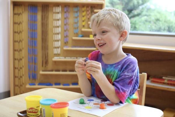 Child carrying out montessori method and lesson on colors