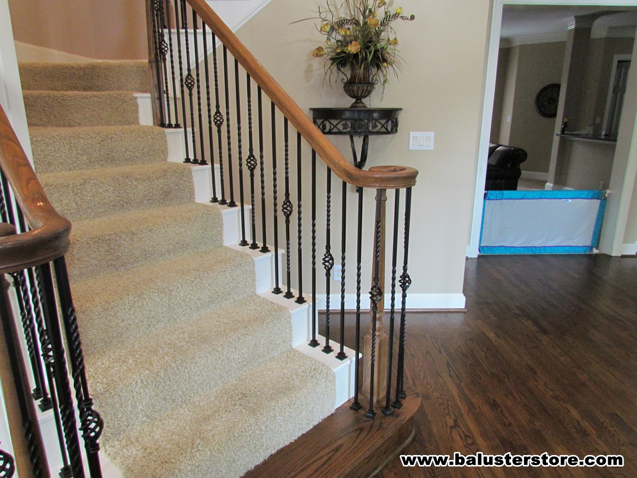 Single Twist - single basket iron balusters