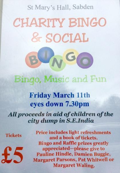 Charity Bingo Night - Friday March 11th 7.30pm