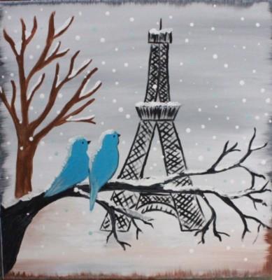 Snowy Eiffel Tower