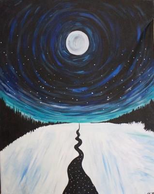 Snowy Night Path