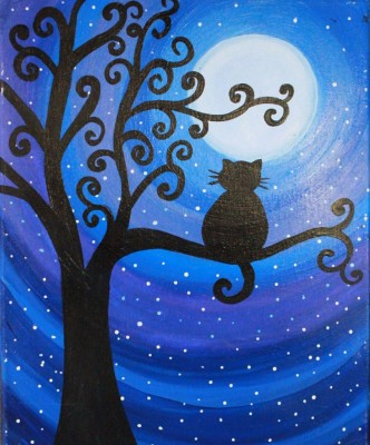Cat on a Swirly Tree