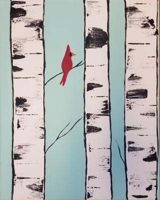 Cardinal in Birch Trees
