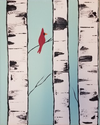 Cardinal in Birch Trees