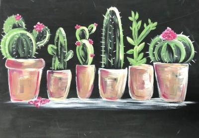 Chalkboard Style Cacti