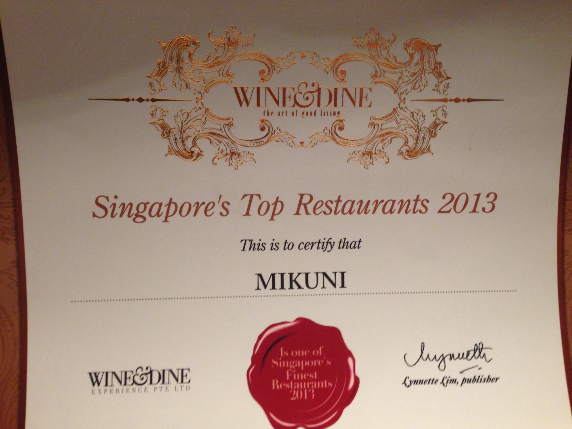 Singapore Top Restaurant 2013