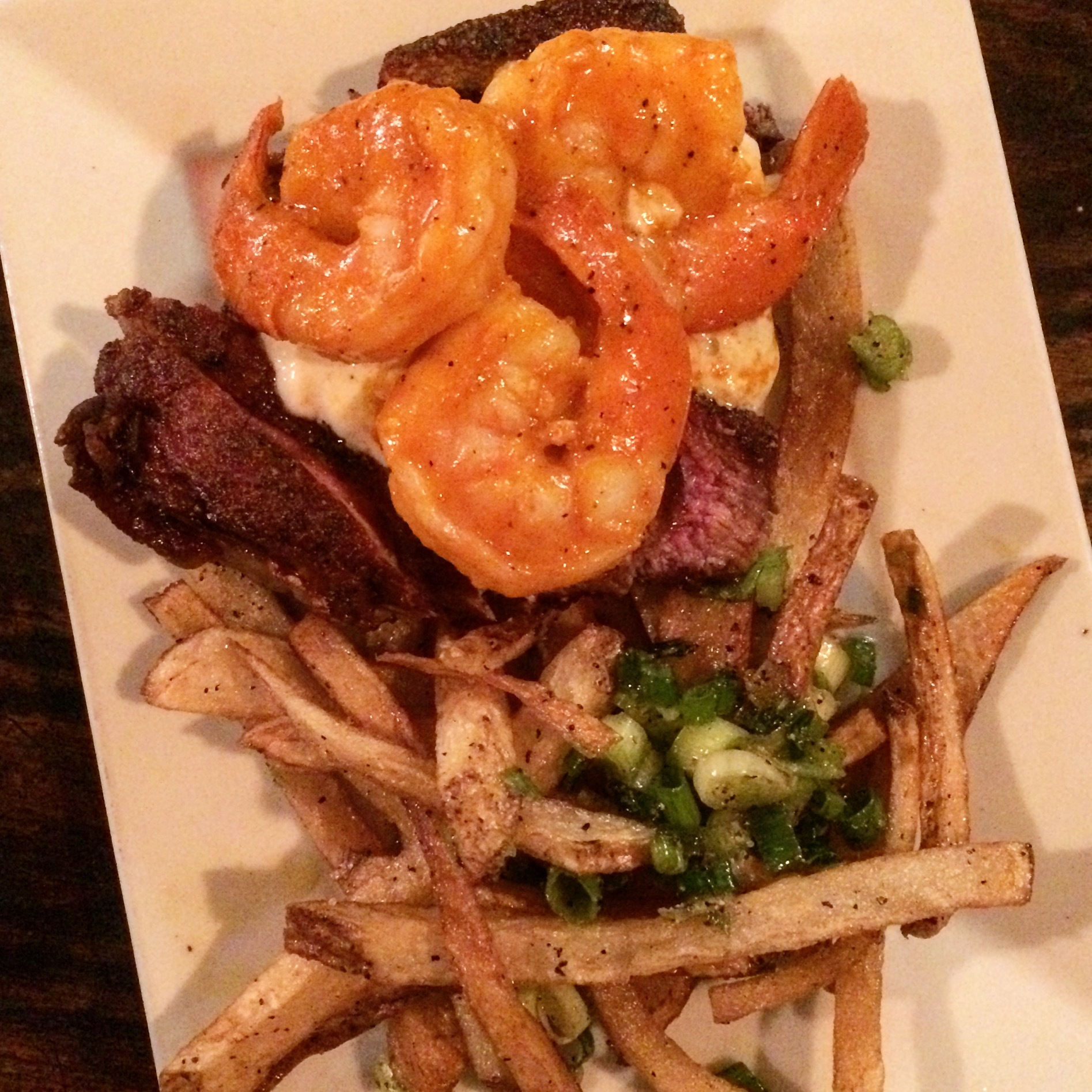 Surf and turf, steak, shrimp, seafood, fries, supper, small plates, st. john's