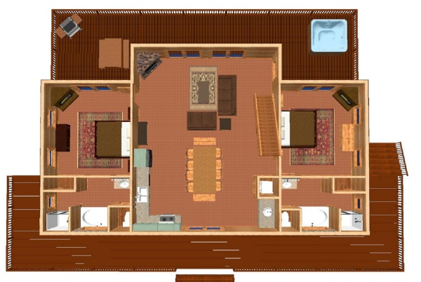 Detailed 1st floor plan including furniture placement