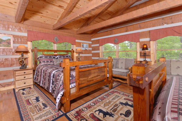 Appalachian Escape Cabin - Upstairs  bedroom with barnwood beds