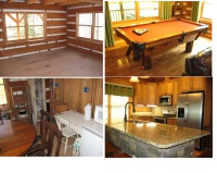 Appalachian Escape before and After living and kitchen