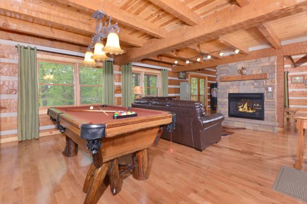 Appalachian Escape Cabin custom log pool table