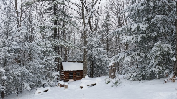 Little Log cabin playhouse - winter day
