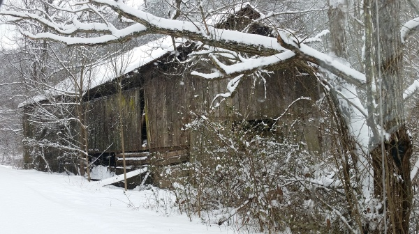 Winter day, an old barn on Lower Powdermill Rd