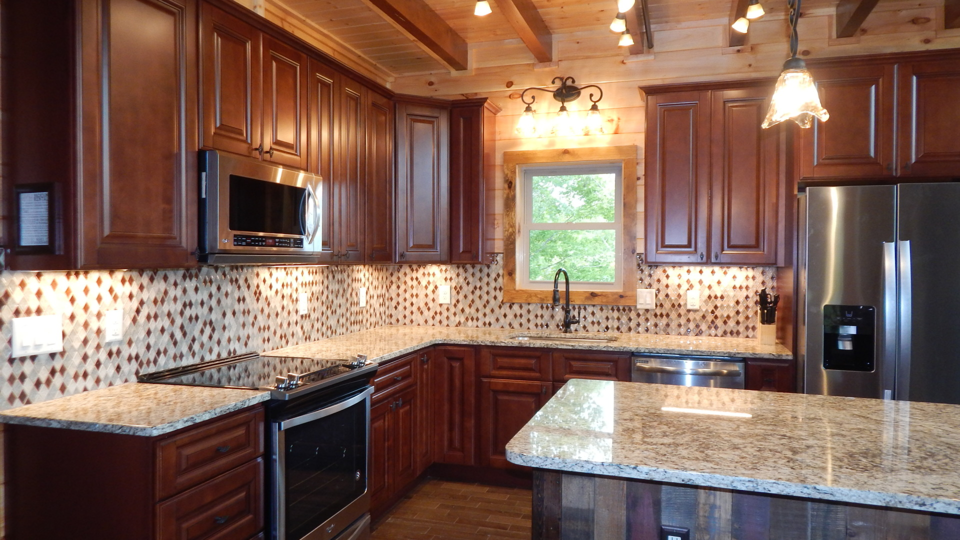 soft close cabinets high end kitchen in a cabin