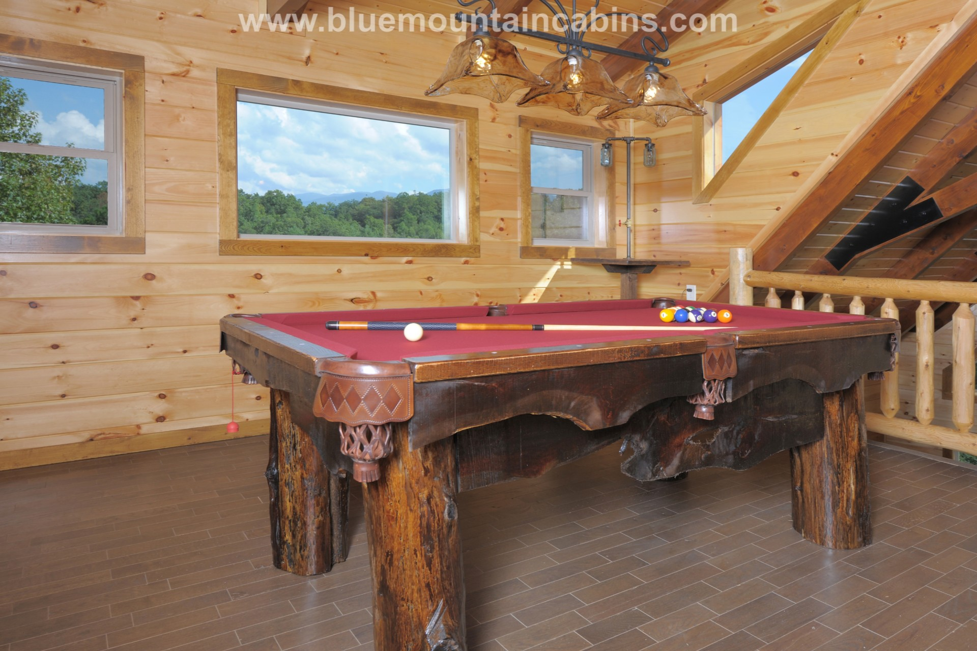 Smoky mountains cabin one of a kind pool table made from tree trunks