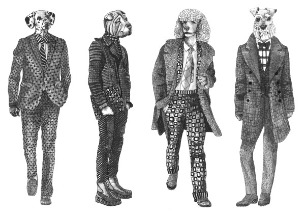 dogs in suits, illustration commission, textile candy, zentangle art