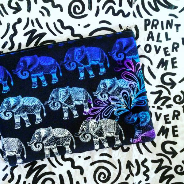 textile candy, printed clutch bag, paom, print all over me, elephant bag, elephant pattern
