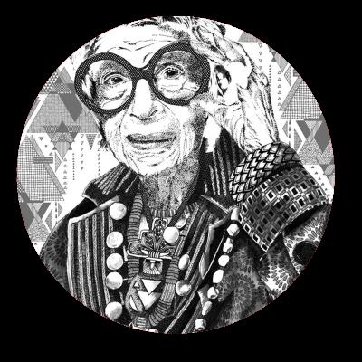 iris apfel, portrait illustration, freelance illustrator, textile candy