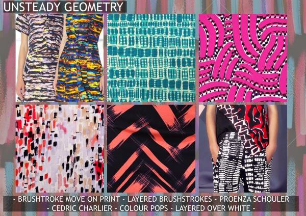 Textile candy, print trends, trend forecasting service, trend prediction, premiere vision paris, premiere vision report, review, wearepremierevision, unsteady geometry, loose geometry, painterly shapes, brushstroke print