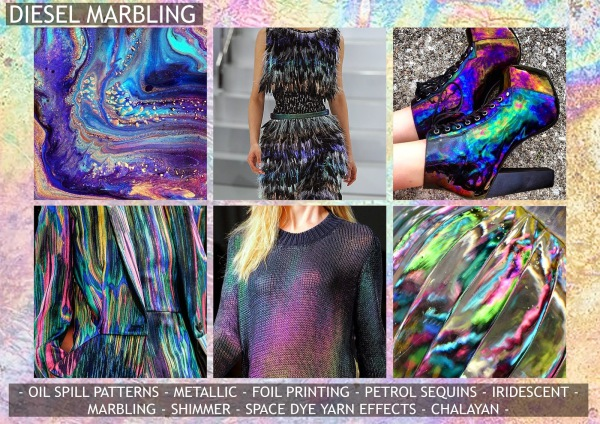Textile candy, print trends, trend forecasting service, trend prediction, premiere vision paris, premiere vision report, review, wearepremierevision, petrol spill, oil spill, iridescent