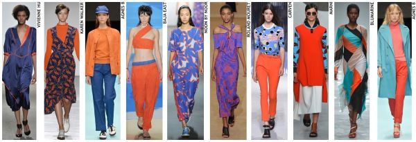 womenswear trend, print trend, fashion trend, catwalk analysis, runway review, Spring/Summer 2016, SS16, blue and orange, red and blue, colour combinations