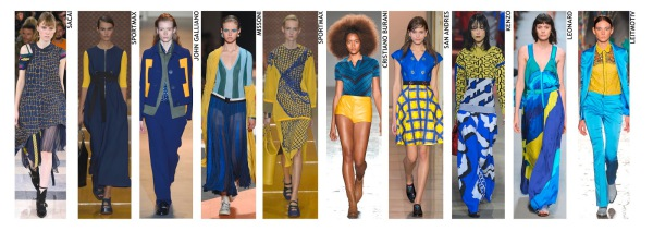 womenswear trend, print trend, fashion trend, catwalk analysis, runway review, Spring/Summer 2016, SS16, blue and yellow, colour combination