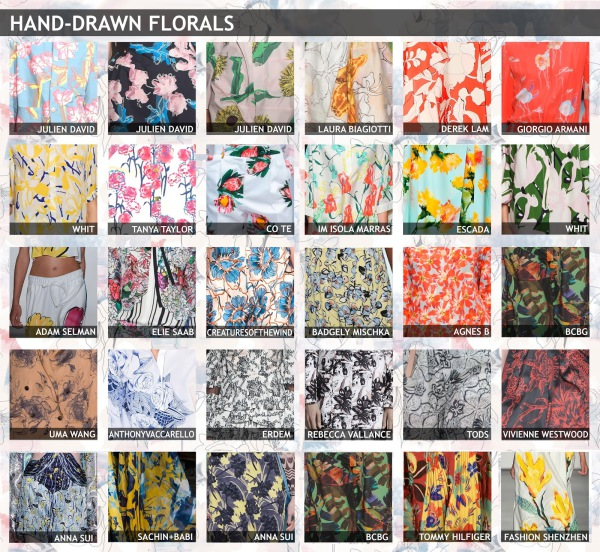 womenswear trend, print trend, fashion trend, catwalk analysis, runway review, Spring/Summer 2016, SS16, skethy floral, unfinished floral, hand drawn