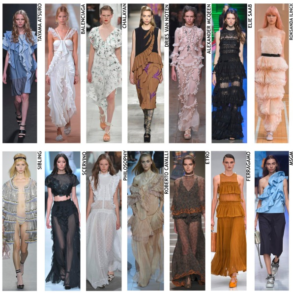 womenswear trend, print trend, fashion trend, catwalk analysis, runway review, Spring/Summer 2016, SS16,ruffles, styling trend