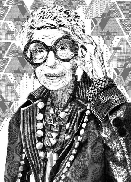 textile candy, portrait illustration, portrait art, iris apfel portrait, zentangle portrait, patterned portrait