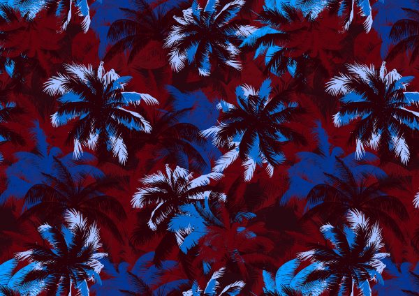 PALM TREE PRINT, BLUE AND BROWN, RETRO, COLOUR COMBINATION