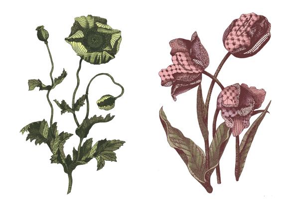 freelance illustration, floral illustration, zentangle illustration, line art, hand drawn, handmade, zentangle floral, intrixate pattern, patterned flower