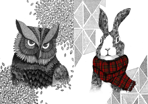freelance illustration, character illustration, animal illustration, line art, hand drawn, handmade, zentangle owl, zentangle hare, rabbit illustration