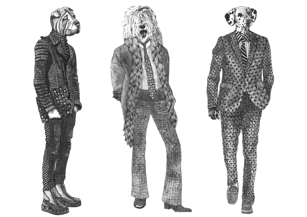 DOGS IN SUITS, ANTHROPOMORPHIC, ANIMALS IN CLOTHES, DOG ILLUSTRATION, HIPSTER ART