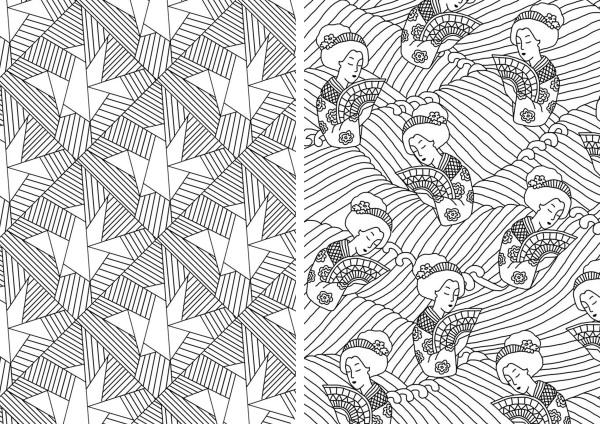 Michael O Mara books, illustration commission, adult colouring books, book illustration, freelance illustrator, textile candy, paper crane illustration, origami pattern, origami print