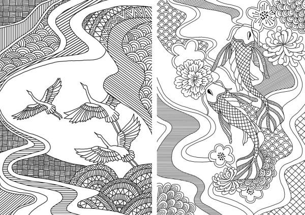 Michael O Mara books, illustration commission, adult colouring books, book illustration, freelance illustrator, textile candy, japanese illustration