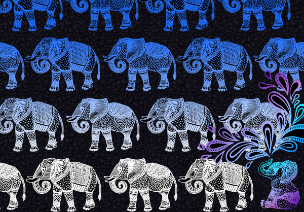 freelance illustration, character illustration, animal illustration, line art, hand drawn, handmade, elephant splash, print all over me, elephant pattern, zentangle elephant, elephant print, elephant illustration, paom