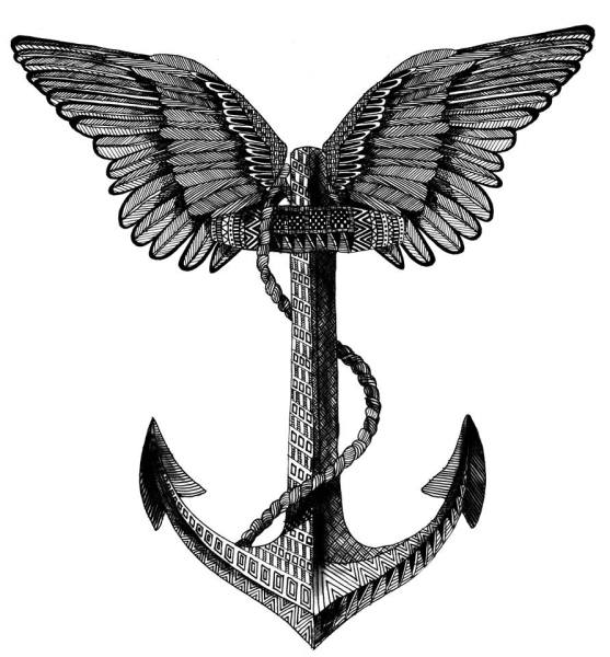freelance illustration, winged anchor, anchor with wings, nautial illustration, anchor sketch