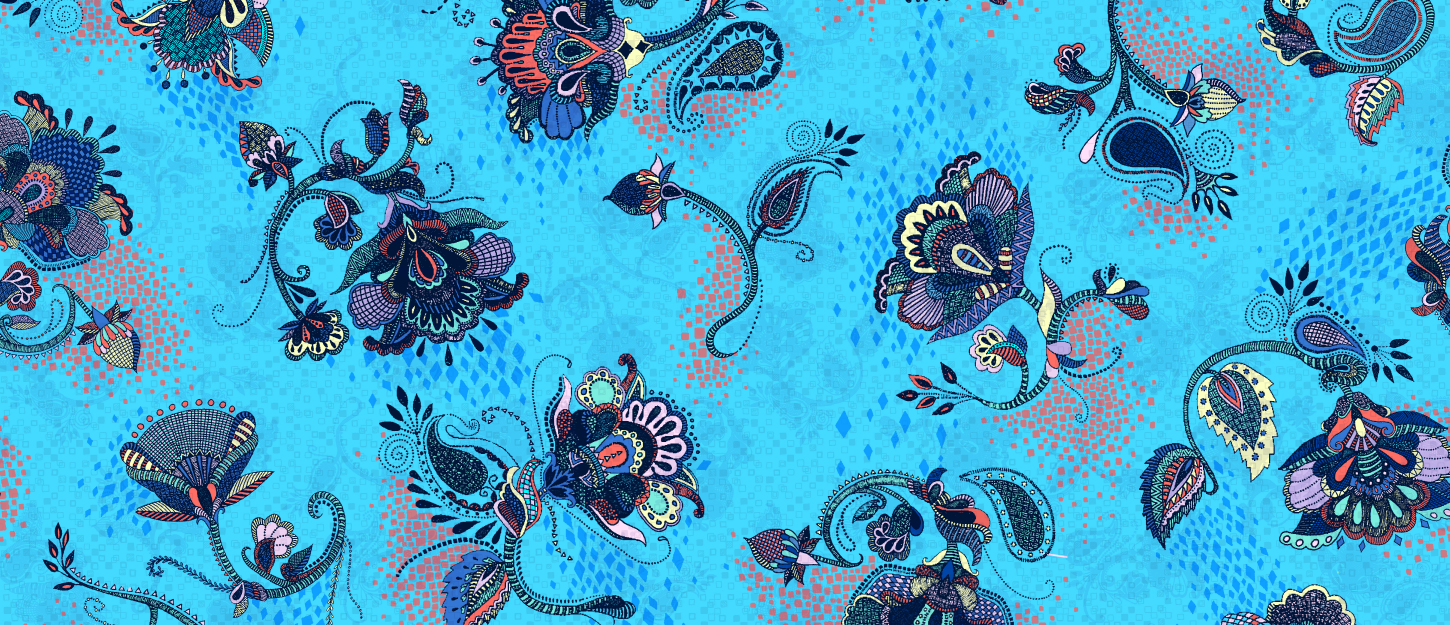 Textile Candy, contemporary chintz, floral print, floral design, colourful chintz, intricate pattern, zentangle floral