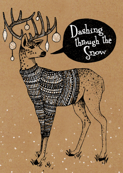 ,zentangle illustration, outline illustration, animal illustration, christmas card design, print designer, freelance designer, textile designer, freelance illustrator, deer illustration, christmas illustration, reindeer illustration, deer in jumper, animals in clothes, anthropomorphic